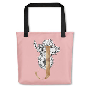 Rose Pink Tote Bag with Floral Initial Exclusive to Oh, Yes! Designs J