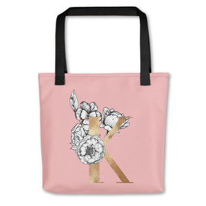 Rose Pink Tote Bag with Floral Initial Exclusive to Oh, Yes! Designs K