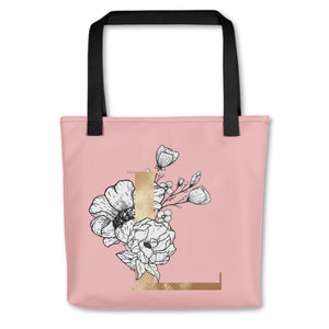Rose Pink Tote Bag with Floral Initial Exclusive to Oh, Yes! Designs L