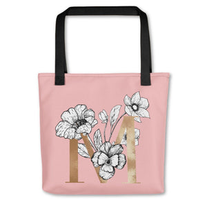 Rose Pink Tote Bag with Floral Initial Exclusive to Oh, Yes! Designs M