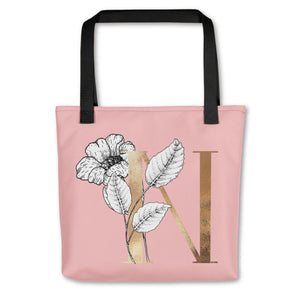 Rose Pink Tote Bag with Floral Initial Exclusive to Oh, Yes! Designs N