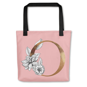 Rose Pink Tote Bag with Floral Initial Exclusive to Oh, Yes! Designs O