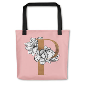 Rose Pink Tote Bag with Floral Initial Exclusive to Oh, Yes! Designs P
