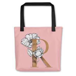 Rose Pink Tote Bag with Floral Initial Exclusive to Oh, Yes! Designs R