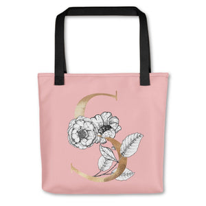 Rose Pink Tote Bag with Floral Initial Exclusive to Oh, Yes! Designs S