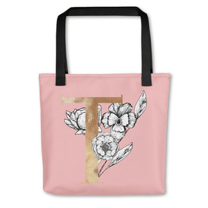 Rose Pink Tote Bag with Floral Initial Exclusive to Oh, Yes! Designs T