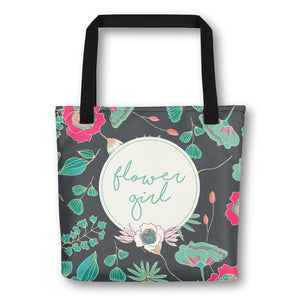 Tote Bag for Flower Girl | Green Floral Exclusive to Oh, Yes! Designs