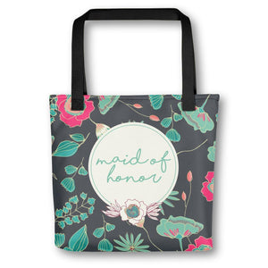 Tote Bag for Maid of Honor | Green Floral Exclusive to Oh, Yes! Designs
