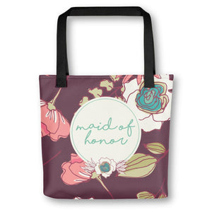 Tote Bag for Maid of Honor | Maroon Floral Exclusive to Oh, Yes! Designs