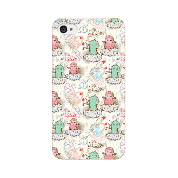 Cute Dragon Love Apple iPhone 4 Mobile cover-Frequncy