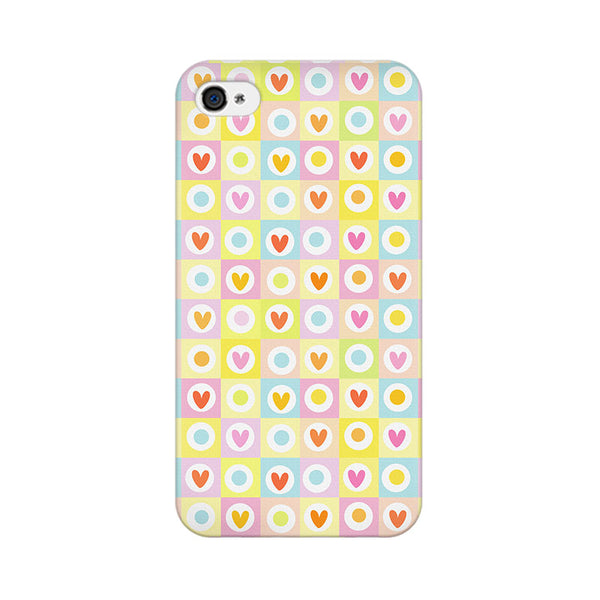 Cute Hearts In Squares Apple iPhone 4 Mobile cover-Frequncy