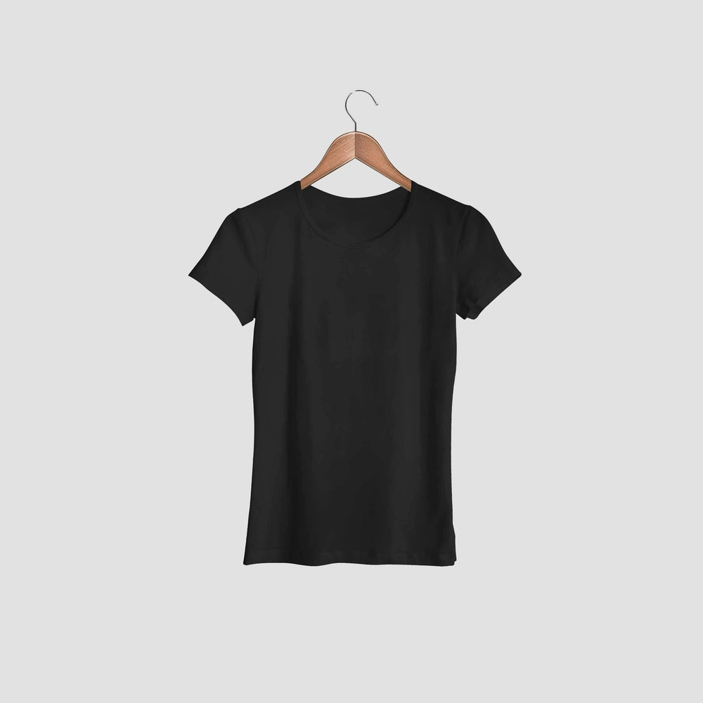 women tshirt round neck black