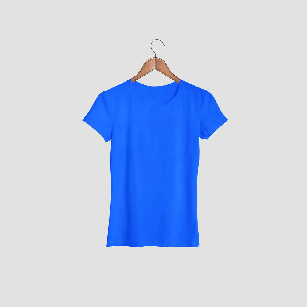 women tshirt round neck navy blue