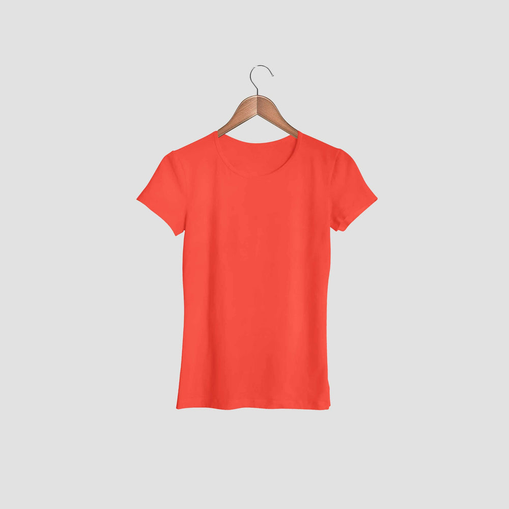 women tshirt round neck red