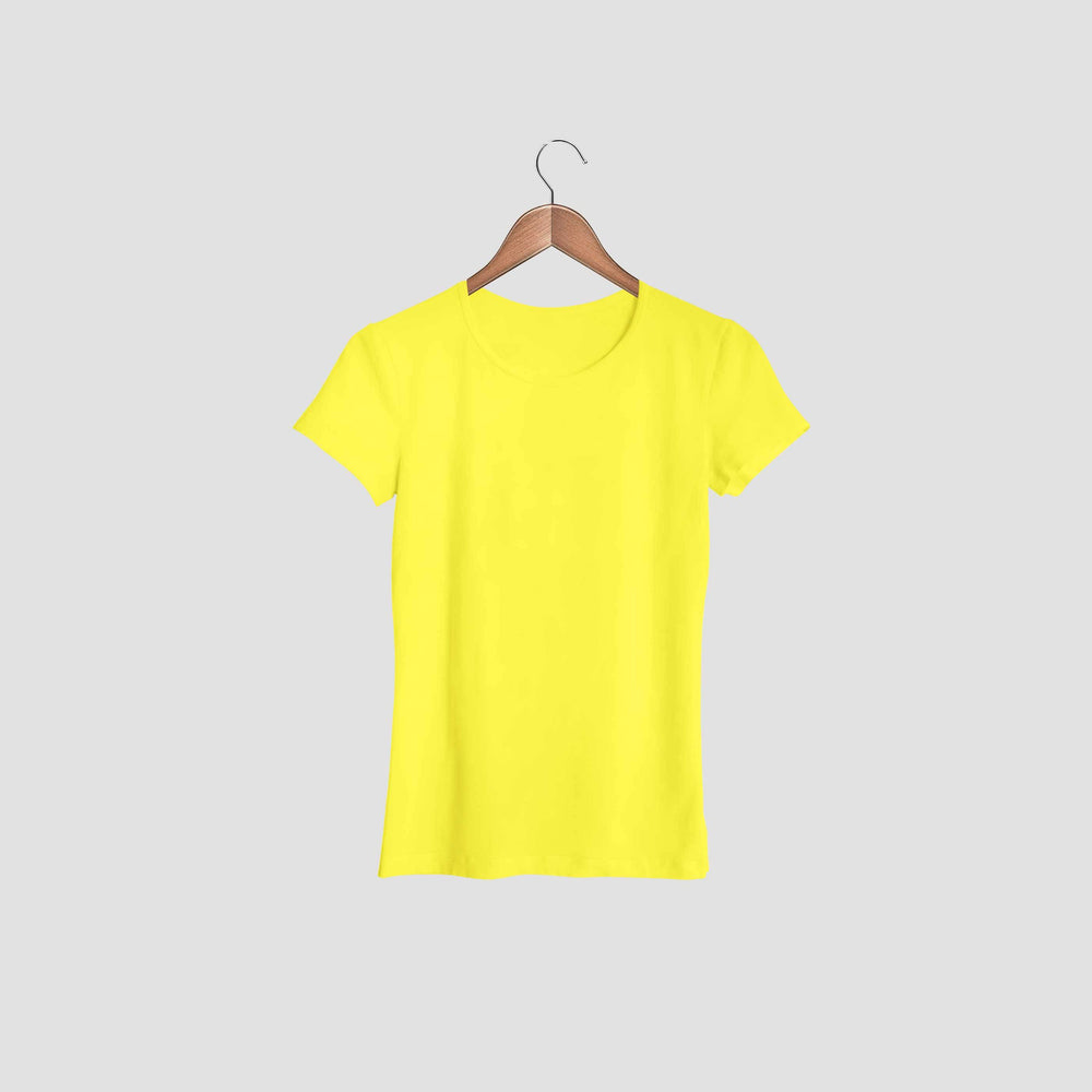 women tshirt round neck yellow