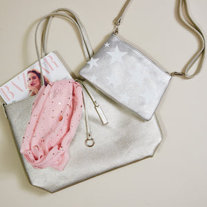 Metallic silver star reversible tote  — Ordinary Luminary