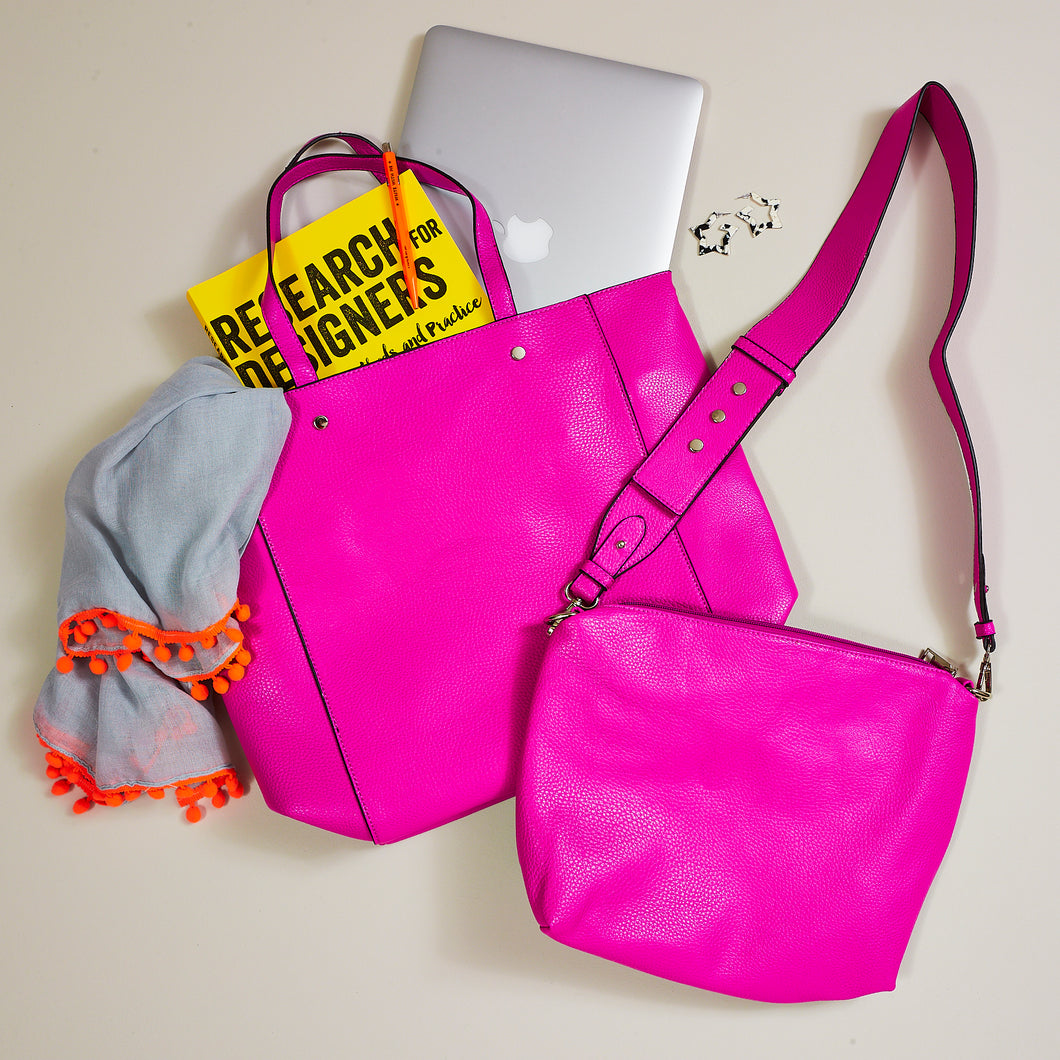 Hot pink reversible 2 in 1 tote bag — Ordinary Luminary