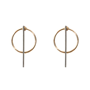 Balance hoop and line 2 in 1 earrings