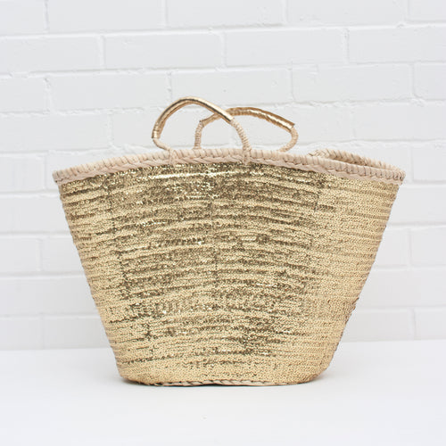 Basket bag in gold | Ethically handmade in Morocco — Ordinary Luminary