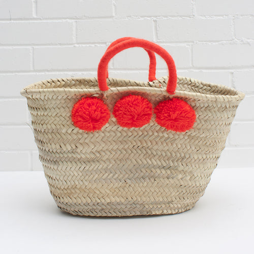Pom pom basket in bright orange | ethically made in Morocco — Ordinary Luminary
