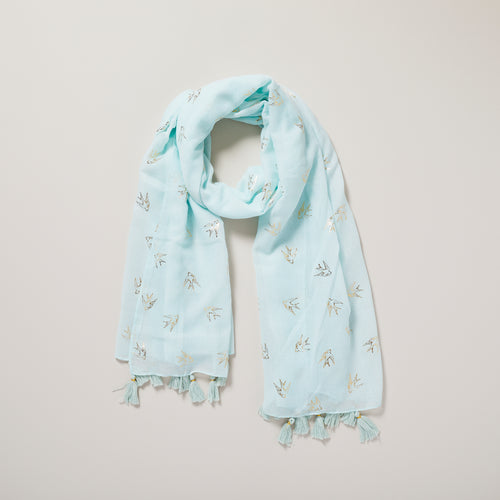 Metallic gold foil swallow print and mint green scarf with tassels — Ordinary Luminary
