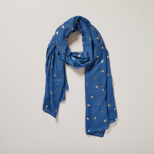 Blue scarf with metallic gold foil lightning bolt print — Ordinary Luminary