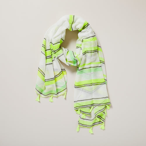 Neon yellow striped scarf with neon yellow tassels — Ordinary Luminary