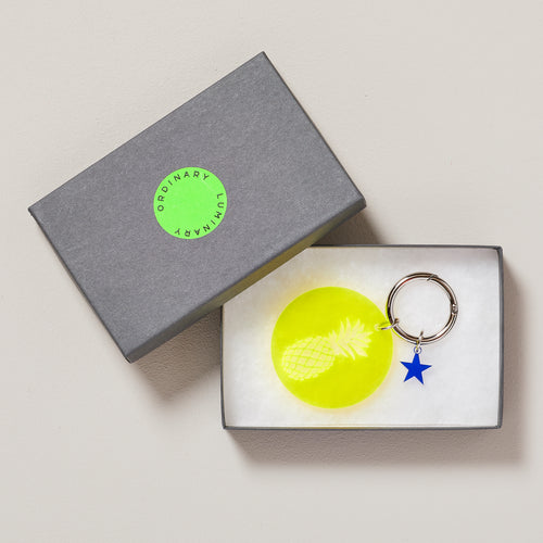 Neon yellow pineapple keyring | neon yellow bag charm | Handmade — Ordinary Luminary