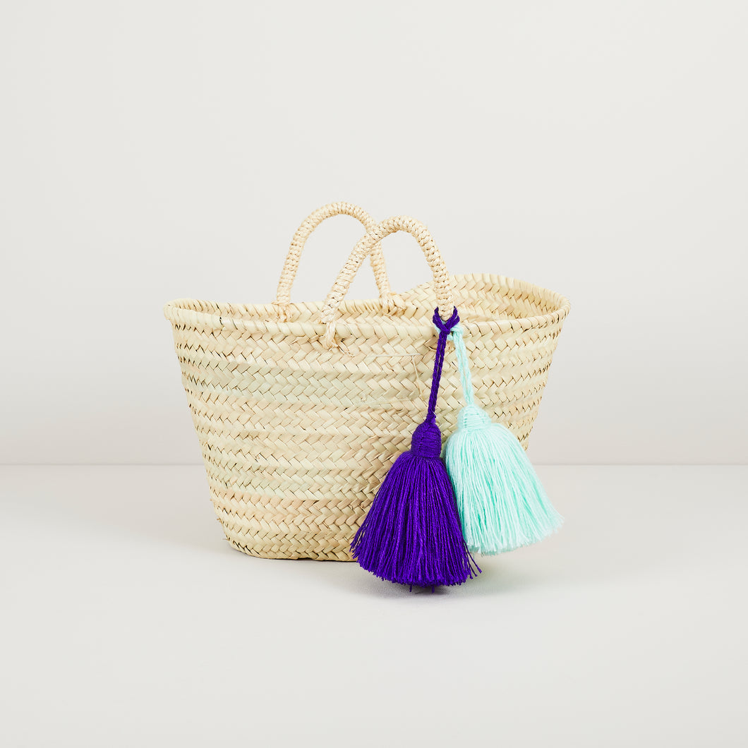 Tassel basket in medium with mint and purple tassels | ethically made in Morocco — Ordinary Luminary