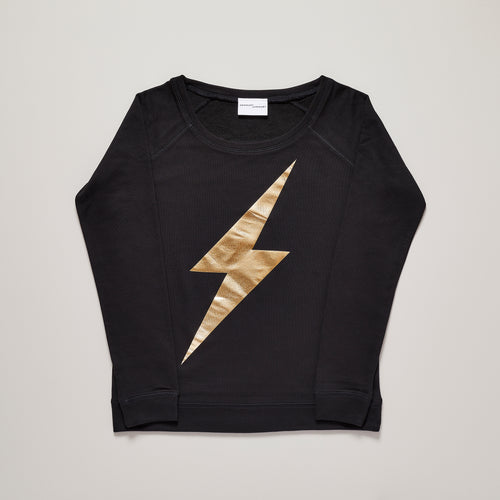 Lightning bolt limited edition sweater in metallic gold on black — Ordinary Luminary