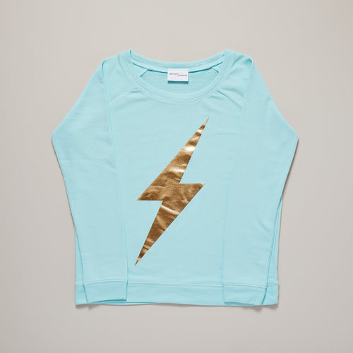 Lightning bolt womens sweater in caribbean blue with metallic gold — Ordinary Luminary