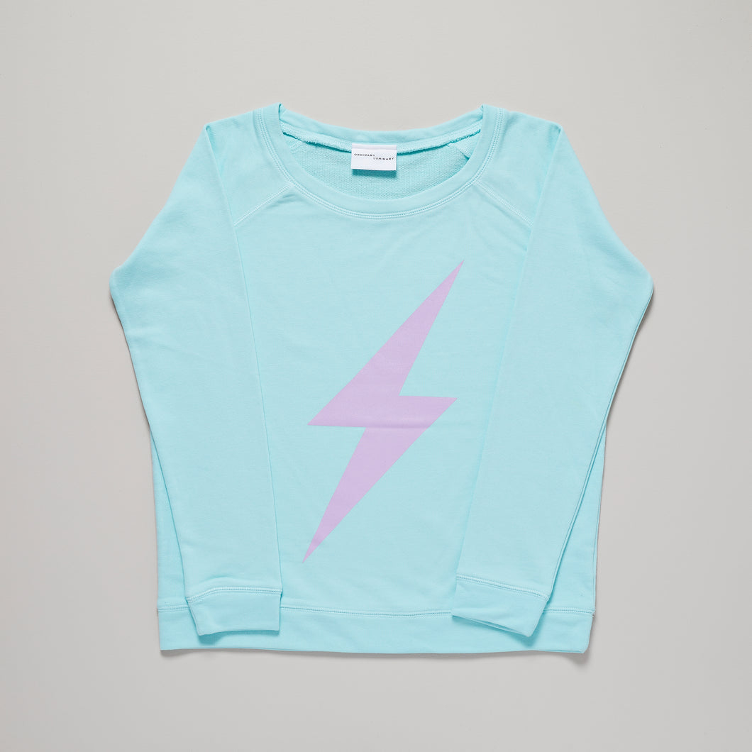 Lightning bolt womens sweat, caribbean blue and lavender — Ordinary Luminary