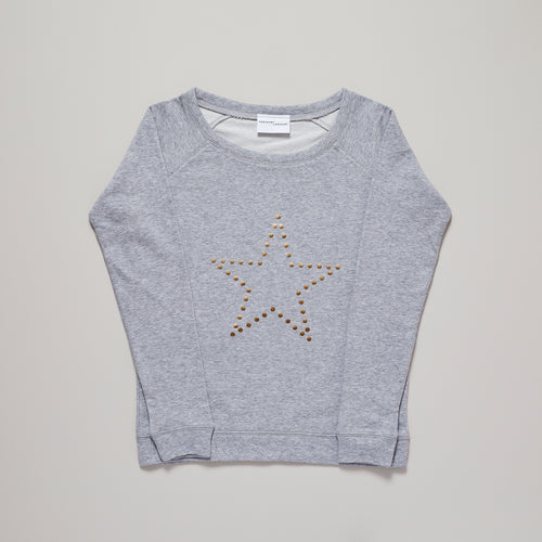 Womens star sweatshirt with metallic gold star on organic cotton sweat — Ordinary Luminary