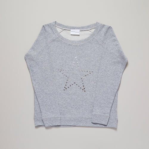 Metallic silver dotty star on light grey sweatshirt — Ordinary Luminary