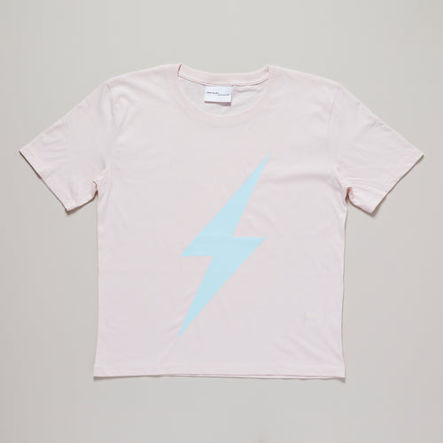 Womens lightning bolt t-shirt in pink and blue, organic cotton — Ordinary Luminary
