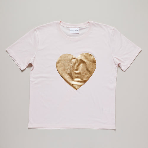 Heart t-shirt in candy pink and gold on relaxed organic cotton — Ordinary Luminary