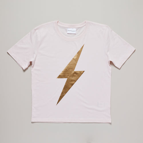 Lightning bolt in gold on candy pink relaxed fit organic cotton t-shirt — Ordinary Luminary