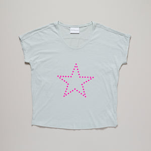 Star t-shirt in neon pink on an opaline green loose fit t-shirt — Ordinary Luminary