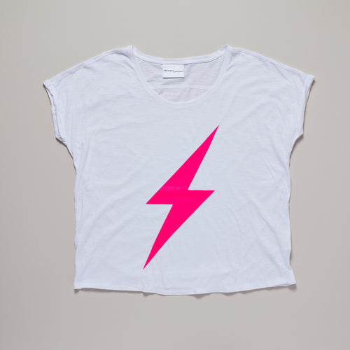Neon pink lightning bolt t-shirt | organic cotton | Ordinary Luminary