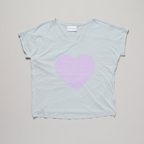 Loveheart t-shirt, pink lavender heart on light green t-shirt |organic cotton| Ordinary Luminary
