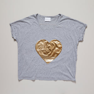 Metallic gold heart on light grey loose fit t-shirt — Ordinary Luminary