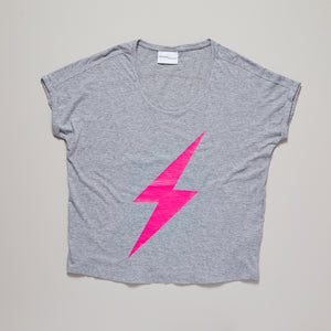 Neon pink lightning bolt on light grey loose fit t-shirt — Ordinary Luminary