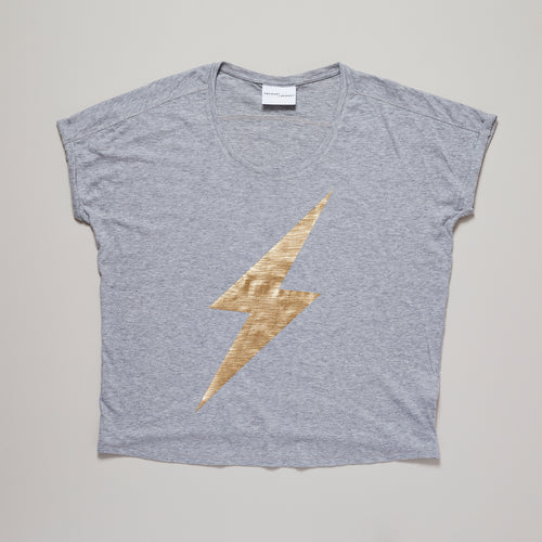Lightning bolt t-shirt in grey and gold, organic cotton — Ordinary Luminary