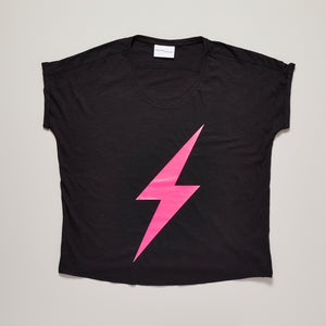 Neon pink lightning bolt on black loose fit t-shirt — Ordinary Luminary