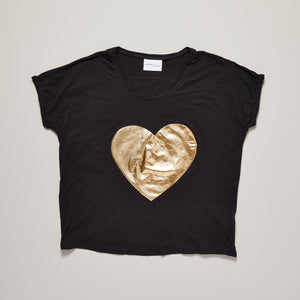 Loveheart t-shirt with metallic gold heart on black — Ordinary Luminary
