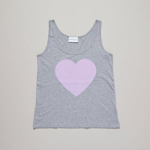 Loveheart vest top in light grey and lavender pink— Ordinary Luminary