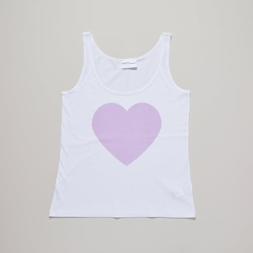 Loveheart vest top in white with lavender pink relaxed fit, organic cotton, limited edition — Ordinary Luminary