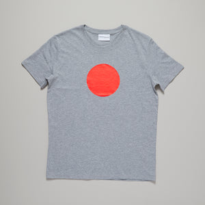 Neon orange circle on light grey medium fit t-shirt — Ordinary Luminary