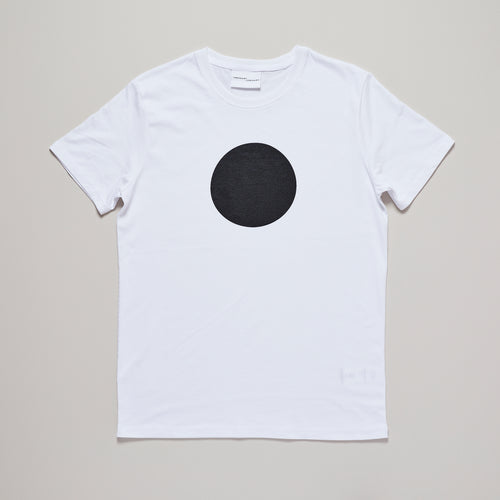 Mens organic cotton t-shirt in white with black circle — Ordinary Luminary