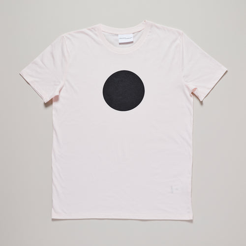 Mens t-shirt with black circle on candy pink — Ordinary Luminary